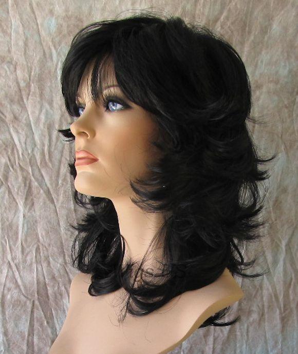 Medium Wig Jet Black Sexy Wavy Choppy Multi Layers Bangs