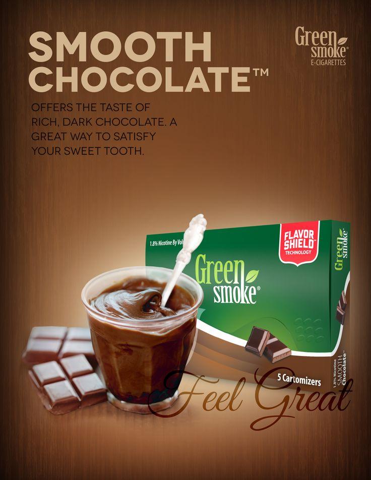 """Smooth Chocolate: Runsaan tummasuklaan maku heti kun aloitat höyrystämisen. Tämä """"suklaasavu"""" tyydyttää makeannälkäsi – ilman hiilihydraatteja tai sokeria!"""