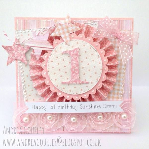 Pretty girl's first birthday card!  A pink birthday card is a special one for many little girls, and this card is no exception! Papers used to create this card are from Dress Shoppe Collection by Nitwit Collections™