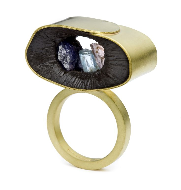 For the Ancestors. 2008. Ring. 18k gold, plastic, sapphire, aquamarine, Lawrence Woodford