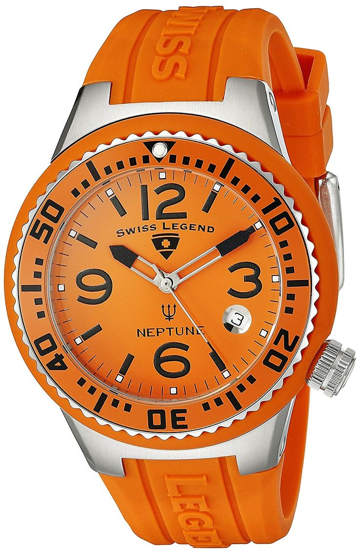 Swiss Legend Women's 11044P-06 Neptune Orange Dial Orange Silicone Watch >>> See this great watch.