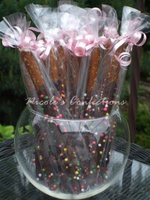 Edible, homemade wedding favor ideas? :  wedding Chocolate Covered Pretzel Rods 3 Protected