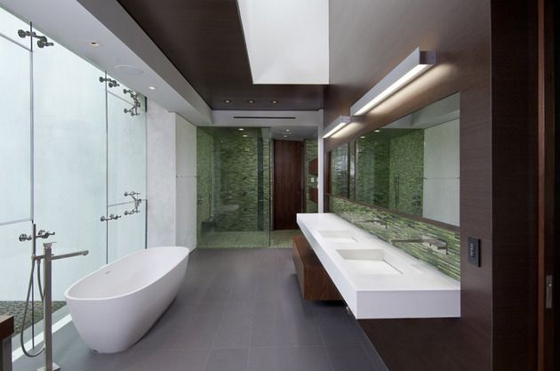 luxury-family-home-with-transparent-walls-and-bowling-alley-17.jpg **taps coming out from wall; tiles from behind the taps would be nice in natural stone colors. Don't mind basins unsure! Could make mirror into a cabinet style like Uebys!