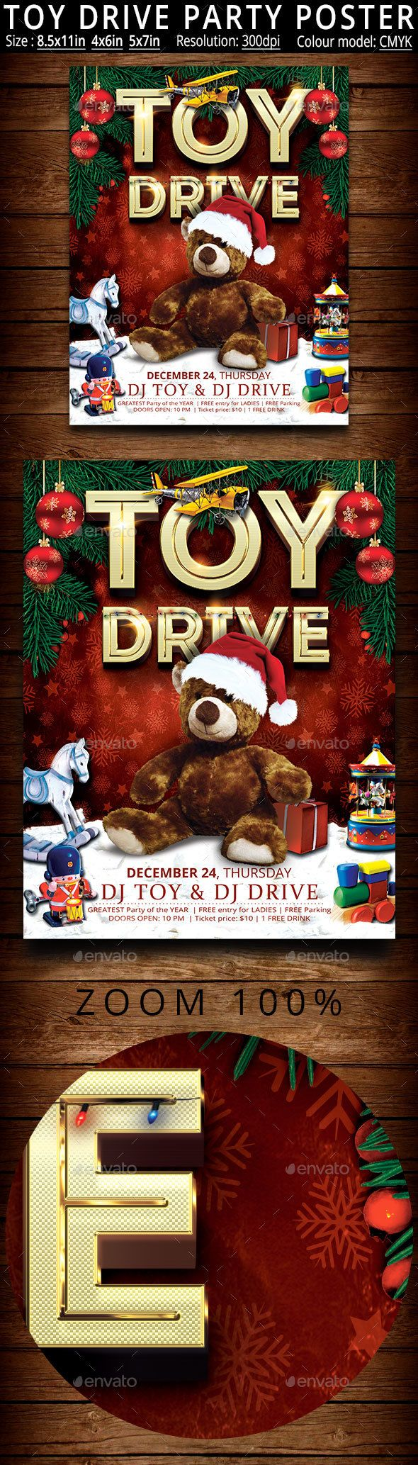 company christmas party invitation templates%0A Toy Drive Party Poster
