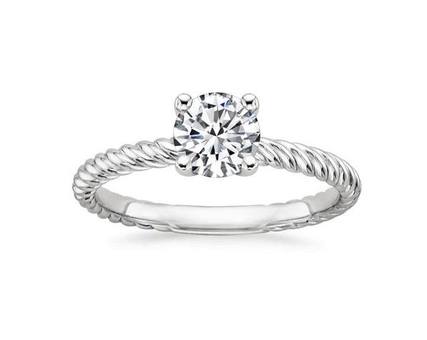 ''Cordelia'' Twisted Engagement Ring With Matching Side Band Classic Engagement Ring Delicate Strands of Metal Twist Together Creating an Elegant Look.