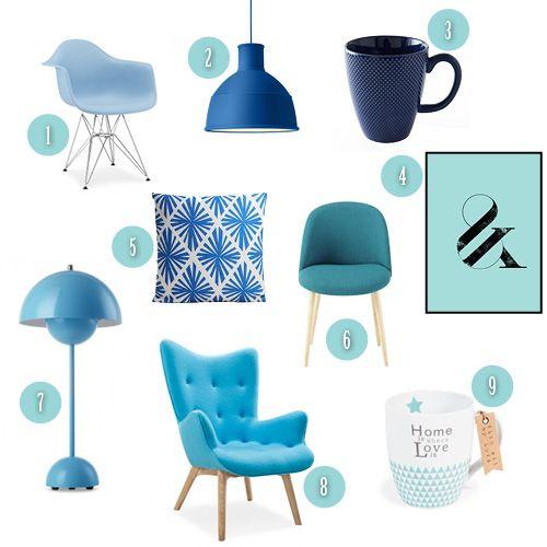 whishlist déco nuances de bleu #bleu #déco #décoration #chaise #mug #lampe