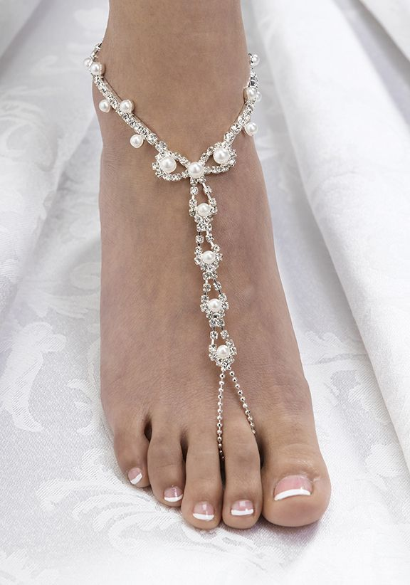 Pair of Pearl & Rhinestone Bridal Foot Jewelry Barefoot Sandals - Beach
