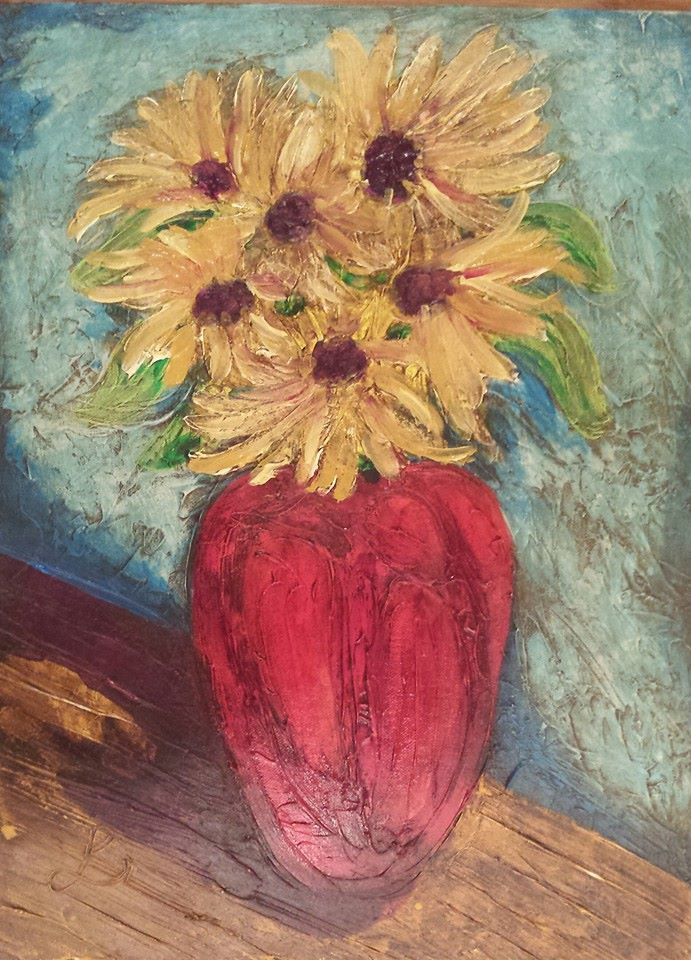 Sunflowers for Lily D acrylic modeling paste