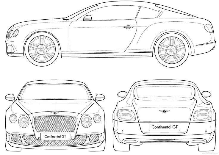 Bentley Continental Dimensions >> Bentley Continental GT Coupe 2011 | Blueprint Database | Pinterest | Modelado, Planos y Galleta