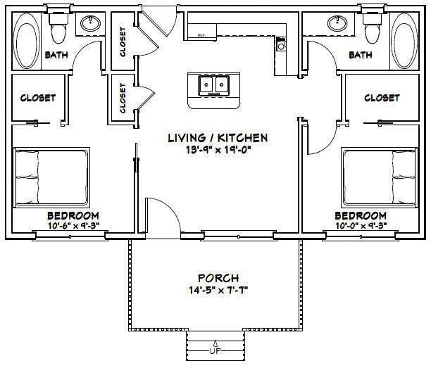 36X20 HOUSE — 2 Bedroom 2 Bath — 720 sq ft — PD…