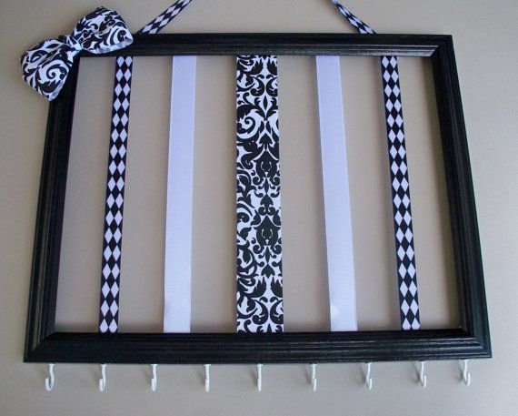 Girls hair bow and headband organizer, 11x14 hair accessories holder, picture frame, hair clip holder, black and white girls room decor