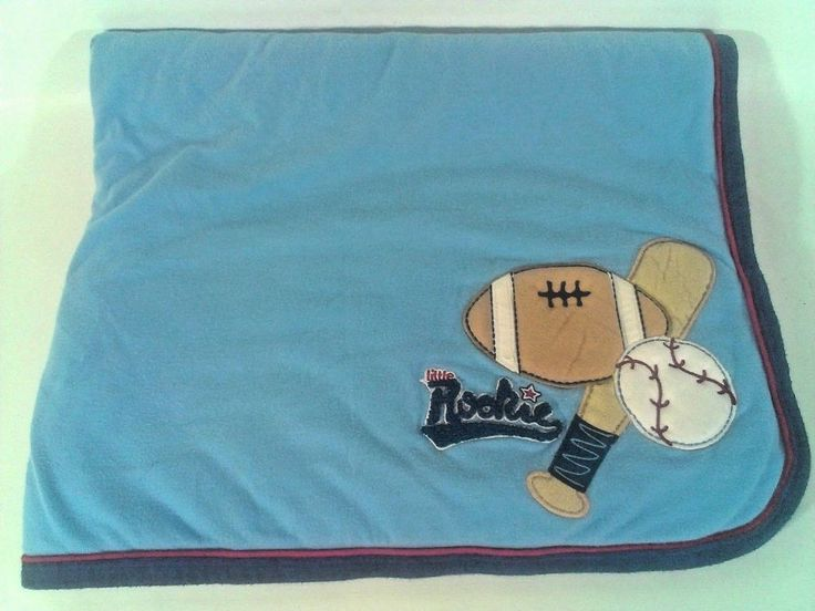 CARTERS LITTLE ROOKIE Sports Baseball Football Blanket Baby Boy Quilt  #Carters