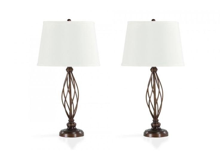 My set of 2 indianapolis lamps have tons of sophisticated style these transitional metal lamps have a unique design and chestnut finish