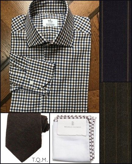 SHIRT/TIE COMBO: Ettemadis(Shirt)-Emma Willis(Tie)-Brunello Cucinelli(Pocket Square)-Suggested Suit Colors(Gray w/Brown Stripes & Brown Stripe)-Suit Colors On Right Side.