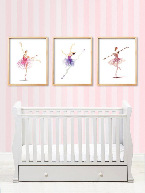 watercolor ballerinas printable art set of 3 instant digital rh pinterest com