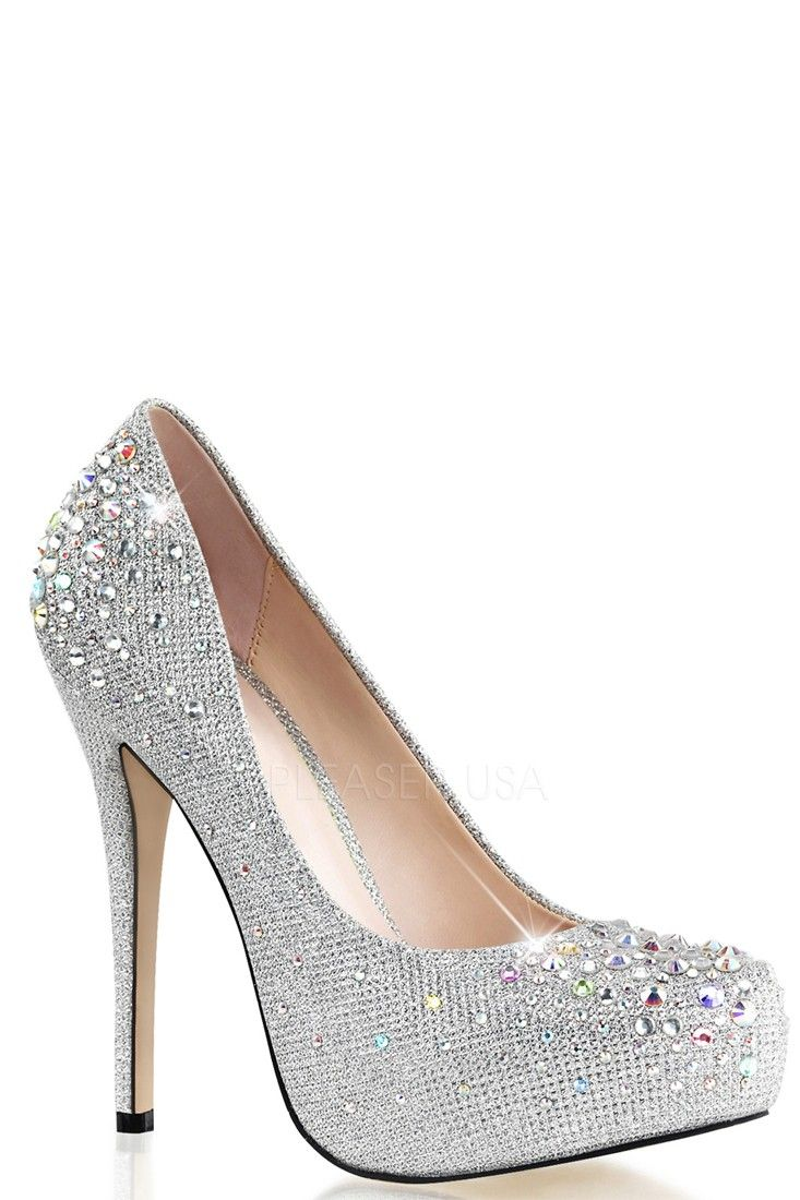 274cf854eb8 Buy Silver Rhinestone Platform Pump Heels Glitter with cheap price and high  quality Heel Shoes online store which also sales Stiletto Heel Shoes