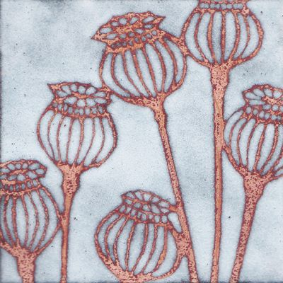 Enamel on copper tile - by artist Janine Partington -- with wet enamel could you leave the copper showing in a design??