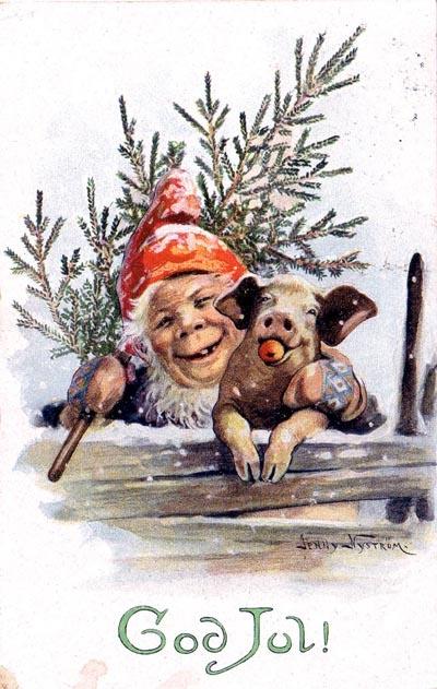 Julkort av Jenny Nyström. Någon som känner till årtal?