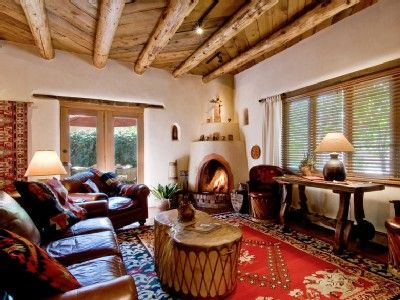 Santa Fe House   Living Room With Kiva Fireplace In An Adobe Home