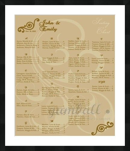 Wedding seating chart Personalized by Gumball Prints