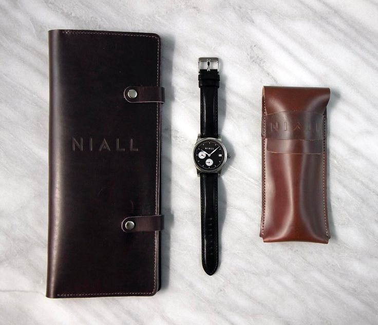 """On the go? NIALL'S got you covered. -- Watch: """"Black Swan"""" GMT with black leather strap Also featuring the exclusive NIALL folio and travel pouch -- #niall #allin #watchmaking #watches #watch #horology #timekeeping #time #travel #leather #black #marble #swan #kansascity #KC #visitkc #missouri #kansas #usa #usamade #adventure #explore #watchesofinstagram -- http://ift.tt/2pXFPV8"""