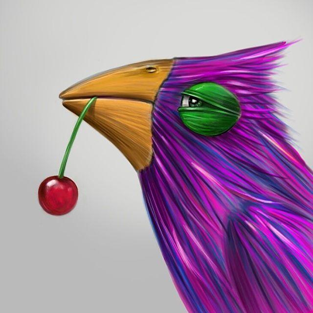 """krzy-who: """"""""Hunter cherry"""" Drawn by Krzysztof Adamczak He is proud to have killed a tasty cherry. #art #euro2016 #cherry #krzysztofadamczak #digitalpaintig #ptaszek #imwatchingyou #scrapbook #girlswholift """" Pik, pik."""