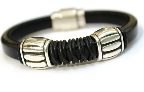 Men's Bracelet Leather Men Gift Handmade by PepperPotLeatherShop, $50.00
