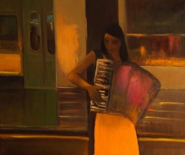 "Saatchi Art Artist Marta Zamarska; Painting, ""Accordion Girl 2 (not available) "" #art"
