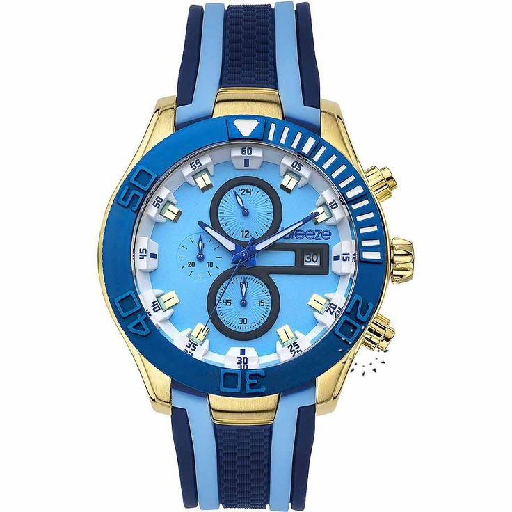 BREEZE Milkshake Stripes Chrono Blue Rubber Strap Τιμή: 195€ http://www.oroloi.gr/product_info.php?products_id=30540
