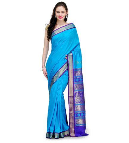 Turquoise Jacquard Bomkai Art Silk Saree | Fabroop USA | Store for Trendy Sarees