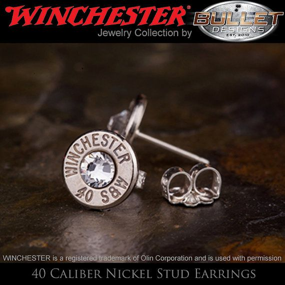Bullet Stud Earrings Sterling Silver 40 Caliber by BulletDesigns