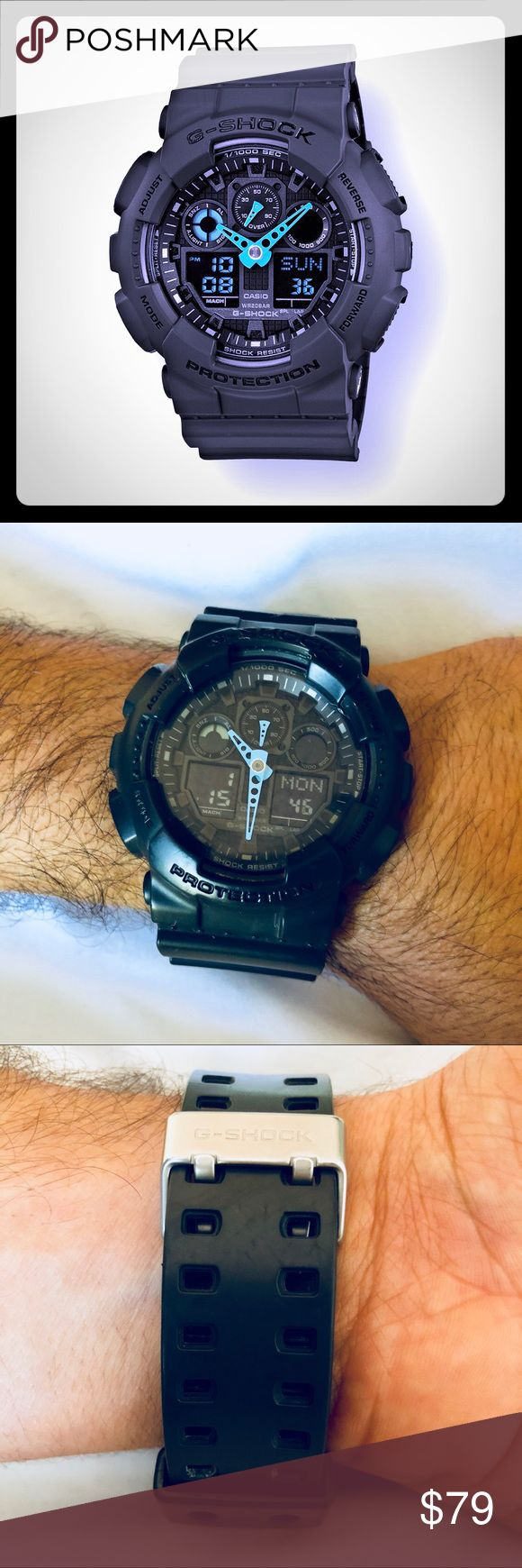 Like New G-SHOCK Watch!⏱💯Authentic! Used in very good condition! It is Shock resistant, magnetic resistant and 200M water resistant. Auto LED light with Afterglow World Time 29 times zones (48 cities + UTC) 4 daily alarms and 1 snooze alarm G-Shock Accessories Watches