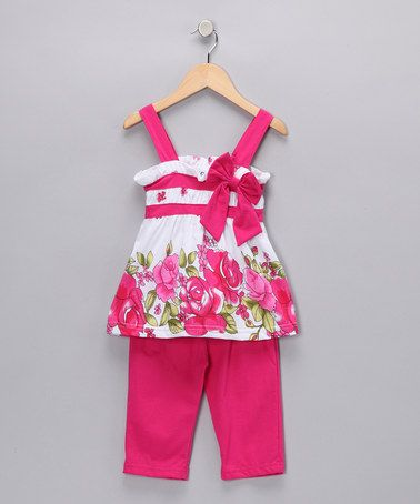 Take a look at this Pink Rose Bow Tunic & Capri Pants - Toddler & Girls by G Sports on #zulily today!