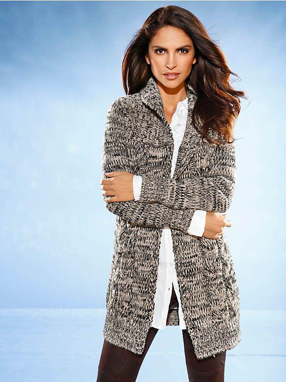 Gilet long femme en tricot et maille torsadée Ashley Brooke - faites votre shopping en ligne sur helline.fr !