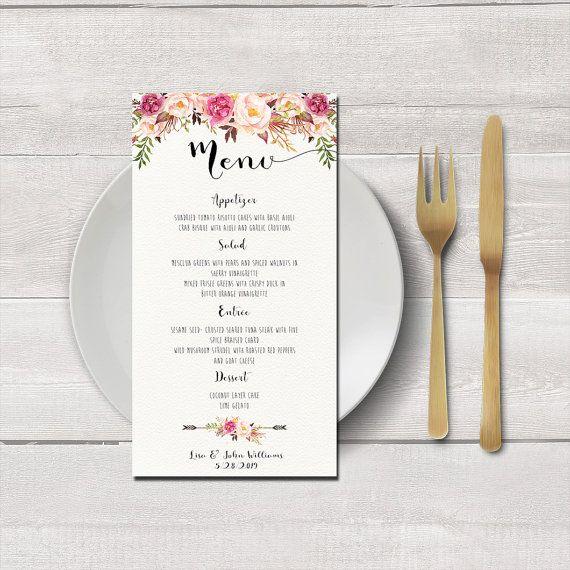 Menükarte zum ausdrucken, Digitaldateien, Blumen rosa und Elfenbein Hochzeit, Hochzeitsparty Menü, Menü am Abend, Hochzeit Empfang Menü – PF-18