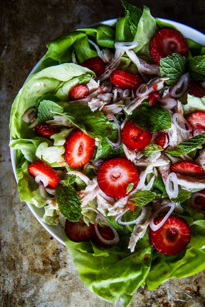Chicken, Mint and Strawberry Salad