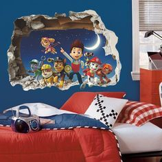 PAW PATROL SMASHED WALL STICKER - 3D BEDROOM VINYL WALL ART DECAL