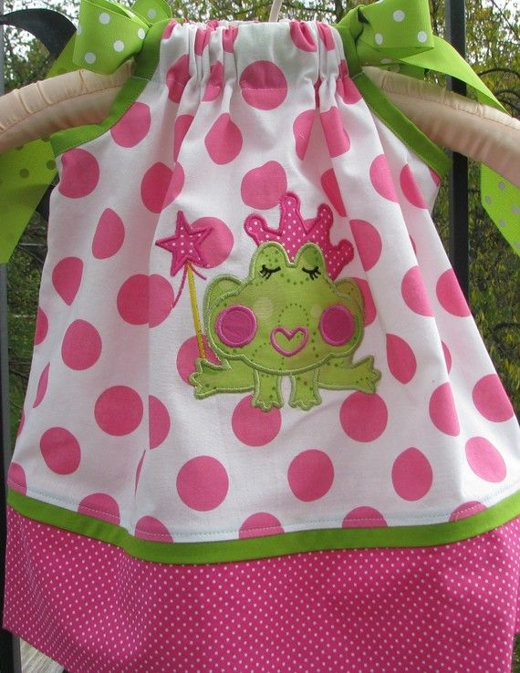 Princess Frog applique pillowcase dress by PJQuilts on Etsy, $29.99