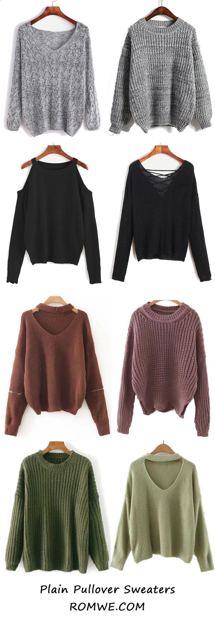 Fall Plain Sweaters from romwe.com