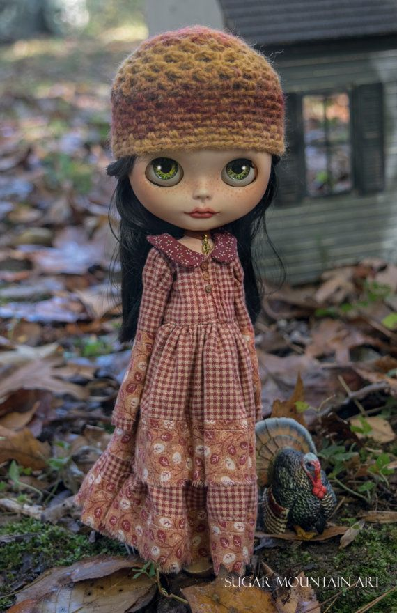 Country Blessings. Autumn Maxi Dress, A Crocheted Hat, Striped Tights and Cotton Bloomers And Camisole For Blythe