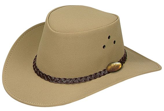 1301A Childrens PU Sand. PU Suede Hat by Jacaru. Leather Plaited Hatband and Brass Jacaru Badge.