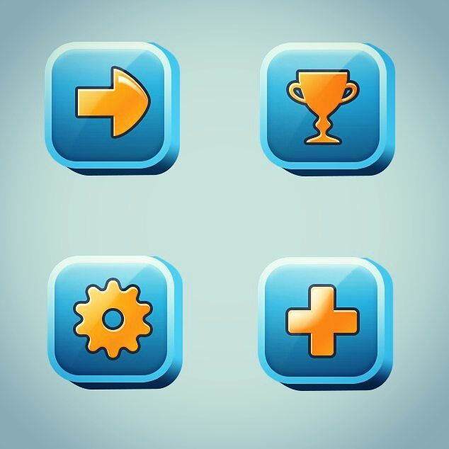 Been practicing #2D #UI. It's actually really fun :D  #interface #icons #buttons #digitalart #casual #games #graphic #graphics #userinterface #uidesign