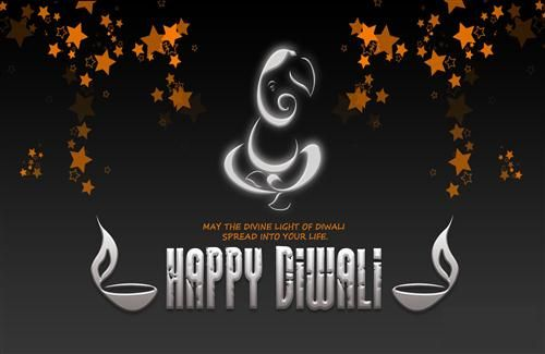 Happy Diwali Festival Picture of Ganesha with Black Desktop Background