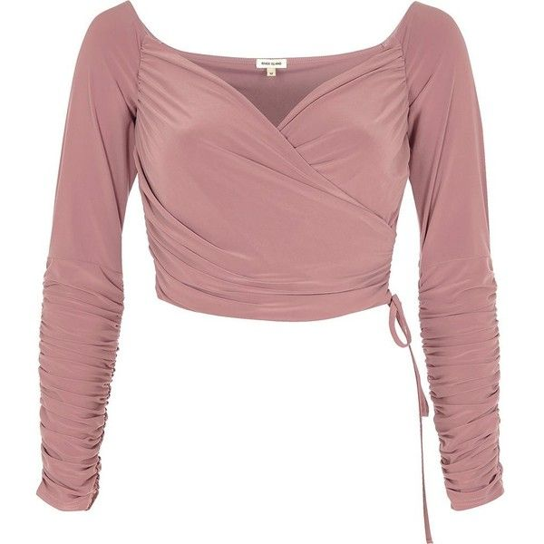 River Island Nude ruched wrap bardot crop top (48 CHF) ❤ liked on Polyvore featuring tops, crop tops, bardot / cold shoulder tops, nude, women, cold shoulder crop top, cut-out shoulder tops, wrap tops, ruched tops and long sleeve crop top