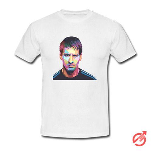 Lionel Messi Geometric Color Portrait Art T-Shirt