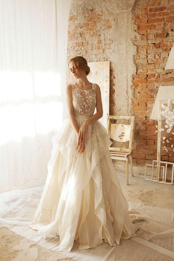 Wedding Separates White Lace Skirt Floral by SarahHirschStudio