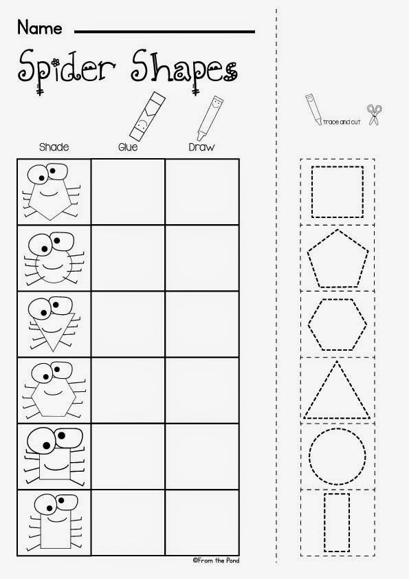 Free Spider Shapes Worksheet