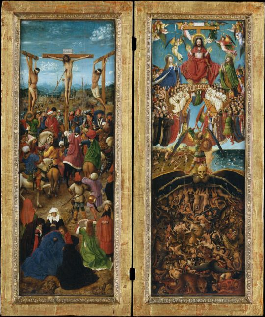 Jan van Eyck  The Crucifixion; The Last Judgment  Netherlands (c. 1435-40)  Oil on canvas, transferred from wood; 56.5 x 19.7 cm.  These exquisite paintings, juxtaposing Christ's sacrifice for the salvation of mankind with the Last Judgment, are by Jan van Eyck, the most celebrated painter of fifteenth-century Europe, and an assistant. The Crucifixion is presented as an eyewitness account set against a distant landscape, astonishing for its depth and subtlety of description. By contrast, the…
