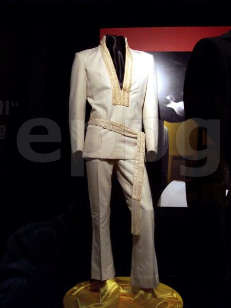 Elvis white karate suit that he used in august 1969 for his comeback , here in display at Graceland.