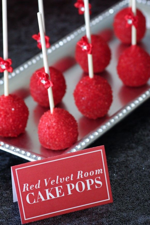 Red velvet cake pops Fifty Shades of Grey | CatchMyParty.com